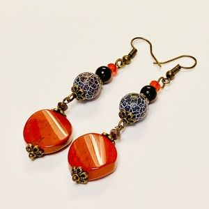 Red Jasper & Matte Black Agate Earrings